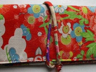 5717 花柄の着物で作った和風財布・ポーチ #送料無料の画像