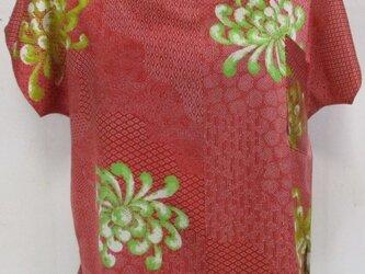 5719 花柄の着物で作ったTシャツ #送料無料の画像