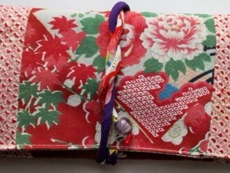 5720 絞りと花柄の着物で作った和風財布・ポーチ#送料無料の画像