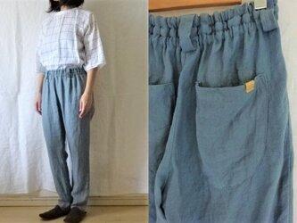 【受注制作】スチールブルー/綾織り40リネン ゆるりパンツの画像