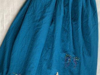 綿麻 ロングスカート 睡蓮、藤とシャム猫の画像