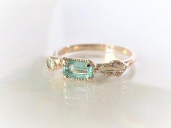 パライバトルマリンとダイヤのK10の指輪の画像