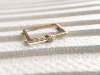 K18・ダイヤモンド  スクエアリング♯11~11.5の画像