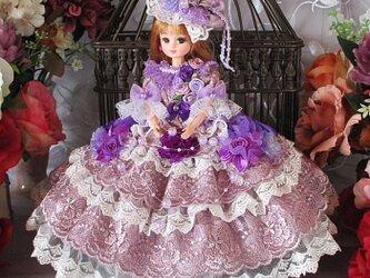 リカちゃん&ブライス ベルサイユロリータ スモーキーパープルのエレガントドレスの画像