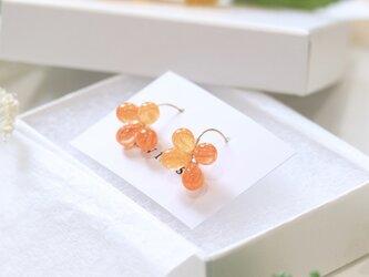 ひまわり色のピアス (Orange marble)  --Blooming Sunflower--の画像