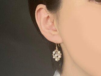 ✳︎イヤリング交換可✳︎淡水真珠とレモンクォーツのピアス 14KGF/Jellyfishの画像