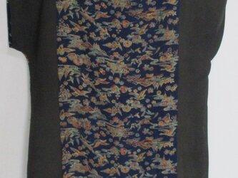 5723 絽と花柄の着物で作ったロングベスト #送料無料の画像