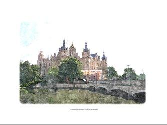 シュヴェリーン城と橋(油絵風)の画像