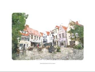ブレーメンの職人街(油絵風)の画像