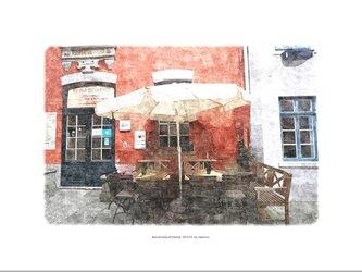 シュノーア地区のカフェ(油絵風)の画像