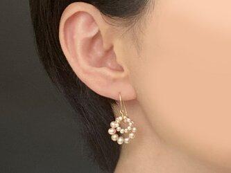 ✳︎イヤリング交換可✳︎淡水真珠のダブルサークルピアス 14KGF KGFの画像