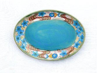 青い金魚と桜絵のオーバルプレートの画像