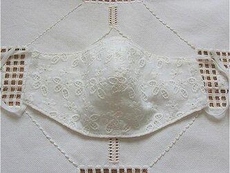 お花の刺繍 綿レース生地使用 立体マスク  の画像