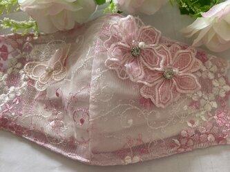 不織布マスクが透けて見えるカバーピンク花刺繍チュールレース ケミカルレース抗菌クレンゼの画像