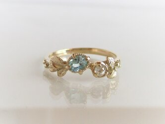 グランディディエライトとローズカットダイヤの指輪(K14)の画像