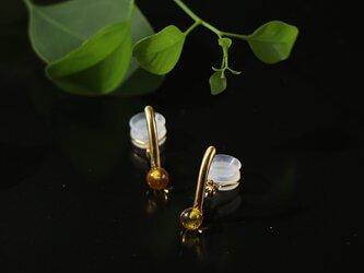 琥珀のイヤリングの画像