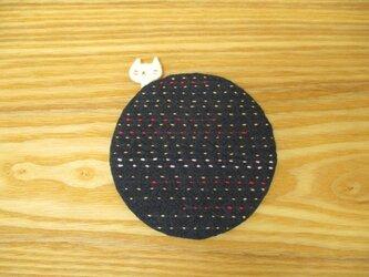白猫の刺し子コースター2の画像