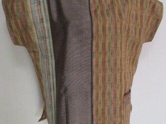 5729 縞柄の着物で作った片開きTシャツ #送料無料の画像