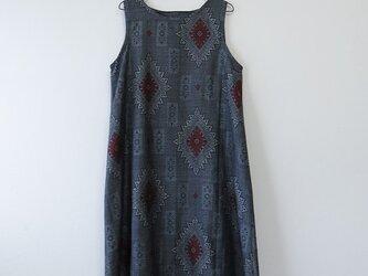 *アンティーク着物*藍大島紬のワンピース(Lサイズ)の画像