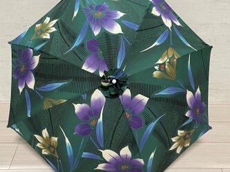 浴衣反物から作った日傘 グリーン花柄の画像