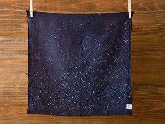 【再入荷】本藍絞り染め オーガニックリネンハンカチ(星空)の画像