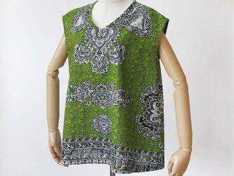 カンガのブラウス アフリカ布 服 / カンガ服 / アフリカンプリントの画像