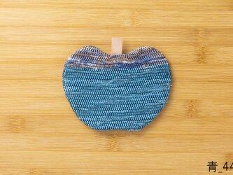 裂織りんごコースター 青の画像