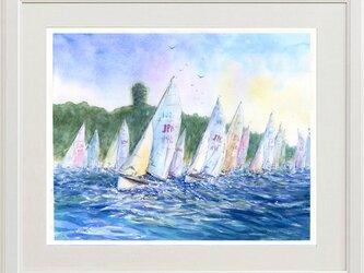 水彩画原画 江の島冲ヨット #465の画像