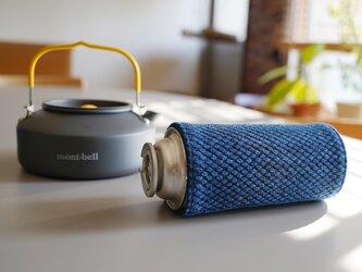 うしじま縫製 | 武州正藍染 CB缶(カセットボンベ缶)カバー リバーシブル 二重刺子 ブルー キャンプの画像
