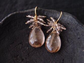 送料無料【K14gf】ルチルクォーツのフリンジピアス/rutile quartz × smokyquartzの画像
