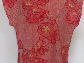 5734 花柄の着物で作った肩開きTシャツ #送料無料の画像