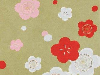 風呂敷 ちりめん風呂敷 かさね紅白梅 レーヨン100% 68cm×68cm 金茶の画像