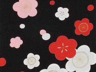 風呂敷 ちりめん風呂敷 かさね紅白梅 レーヨン100% 68cm×68cm 黒の画像