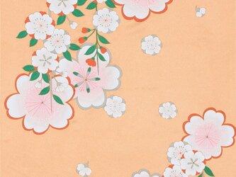 風呂敷 ちりめん風呂敷 みやこ桜 レーヨン100% 68cm×68cm オレンジの画像