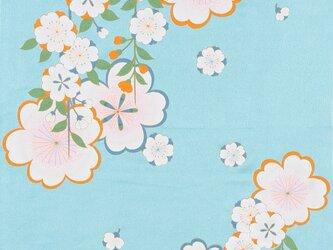 風呂敷 ちりめん風呂敷 みやこ桜 レーヨン100% 68cm×68cm ブルーの画像