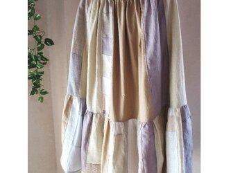 sold優しい色合い♥絵画なパッチワーク ティアードギャザーロングスカート リネン コットン ウエストゴムの画像