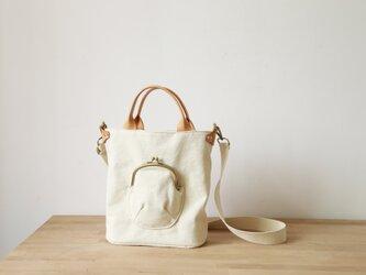 「帆布×革の組み合わせ」手作りの2wayトートバッグショルダーバッグの画像