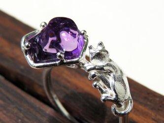アメシストと猫リング * Amethyst & Cat Ringの画像