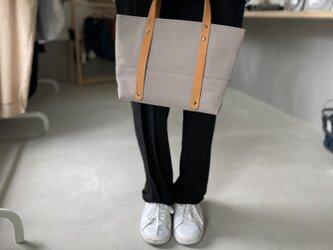 【2021新色】6号帆布と極厚ヌメ革のトートバッグ S-size【グレー】の画像