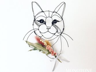 Wire Wall Art Bouque (猫と花)の画像