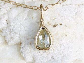ナチュラルダイヤモンド ローズカット・イエロードロップ k14ゴールドネックレスの画像