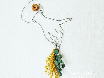 Wire Wall Art Flower (ミモザユーカリB )の画像