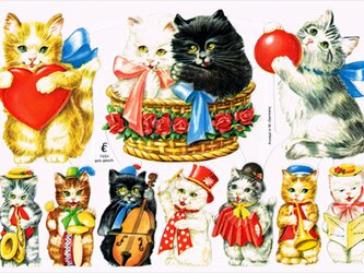 ドイツ製クロモス リボンの猫と音楽隊 ラメなし DA-CHRY022(Made in Germany)の画像