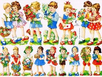 ドイツ製クロモス お菓子とお花を持って ラメなし DA-CHRY027(Made in Germany)の画像