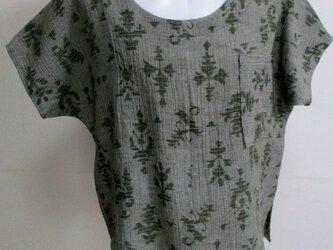 5739 縮の着物で作ったTシャツ#送料無料の画像
