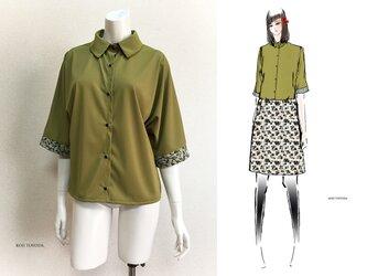 【1点もの・デザイン画付き】ゴブラン織り袖口切り替え天竺ニット抹茶色ブラウス(KOJI TOYODA)の画像
