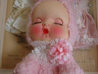 50s淡し野バラお眠りベビーうさぎちゃん人形*の画像