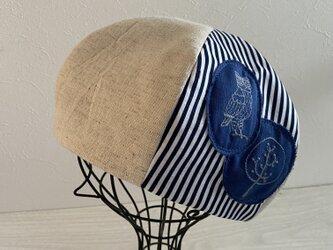 TOPI 綿麻ベージュのベレー帽(フクロウ)の画像