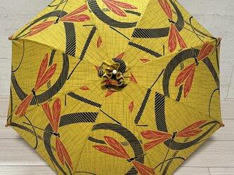 浴衣反物から作った日傘 イエロー蜻蛉の画像