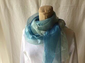 草木染め シルクストール 藍 フラワーの画像
